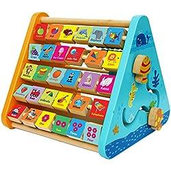 Toys of Wood Oxford Centro de actividades de madera con bloques de madera del alfabeto, cuentas de ábaco, reloj de aprendizaje y laberinto de madera - 5 en 1 centro de actividades para niños
