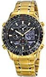 Accurist Men's Quartz Watch with Black Dial Analogue-Digital Display and Gold Stainless Steel Plated Bracelet MB1030B