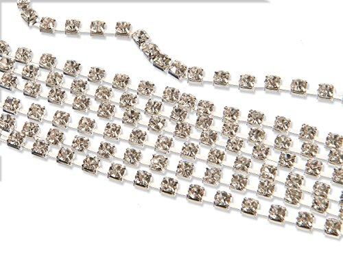 Eimass® Strass-Kette, mehrfach facettierte Glas-Kristallchatons in Silber oder vergoldet