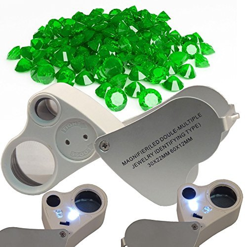 60X 30X Magnifier Loop Magnifying Glass Jeweler Eye Loupe Lens LED Light 2in1 by Safe Price Jewelers Loop