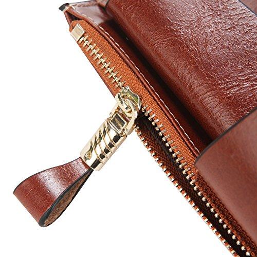 S-ZONE donne di lusso Cera raccoglitore del cuoio genuino di alta capacit¨¤ con la chiusura lampo Pocket Marrone