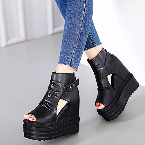 GTVERNH-la primavera e l'estate di scarpe nere high heeled cuneo sandali scarpe da donna spesse nelle donne a bocca di pesce scarpe,35 Thirty-eight