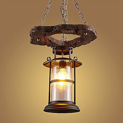 FULL Semplice Creativo Lanterna dell'annata di solido legno triplo lampadari