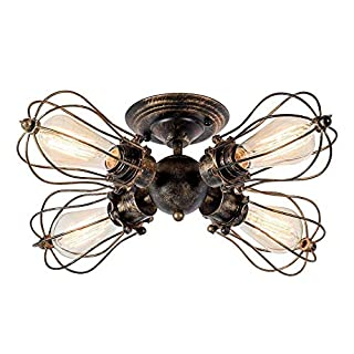 Ceiling Light Retro Metal Ceiling Lamp Antique Retro Lamp for Cottage Bedroom Living Room Dining Table (4L Paintings Rubbed by Oil Bronze)