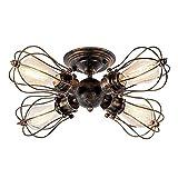 Deckenleuchte Retro Metall Deckenleuchte Antik Retro Lampe Für Landhaus Schlafzimmer Wohnzimmer Esstisch (4L Gemälde Von Öl Gerieben Bronze)