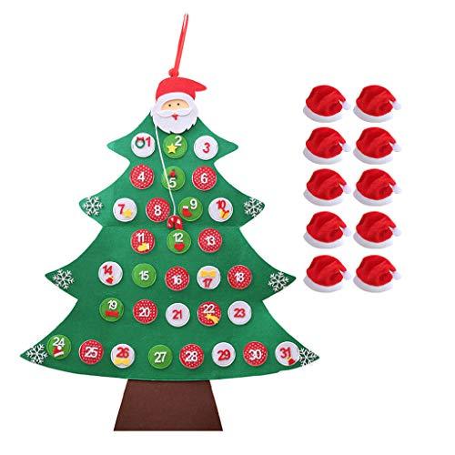 Myspace 2019 Dekoration für Christmas DIY Filz Weihnachtsbaum Set mit Ornamenten für Kinder Weihnachtsgeschenke Tür Wandbehang Filz Kalender Weihnachtsbaum mit Weihnachtsmütze