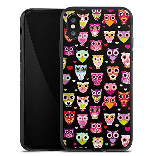 Apple iPhone 8 Hülle Case Handyhülle Eulen Owl Muster Bunt Silikon Case schwarz