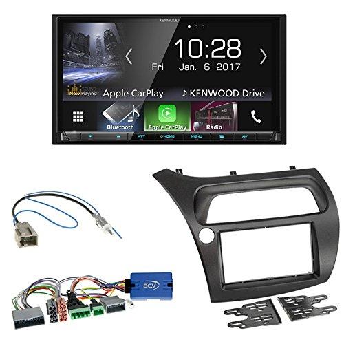 Einbauset : Kenwood DMX7017BTS Radio Bluetooth + 2-DIN Radioblende + Lenkradfernbedienungsadapter für Honda Civic VIII (FK1/FK2/FK3) 01/2006-02/2012 / Civic Type R (FN2) / Civic Type S FN1/FN3/FN4