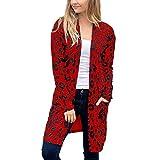 iHENGH Damen Herbst Winter Bequem Mantel Lässig Mode Jacke Frauen Langarm Leopardenmuster Tasche...