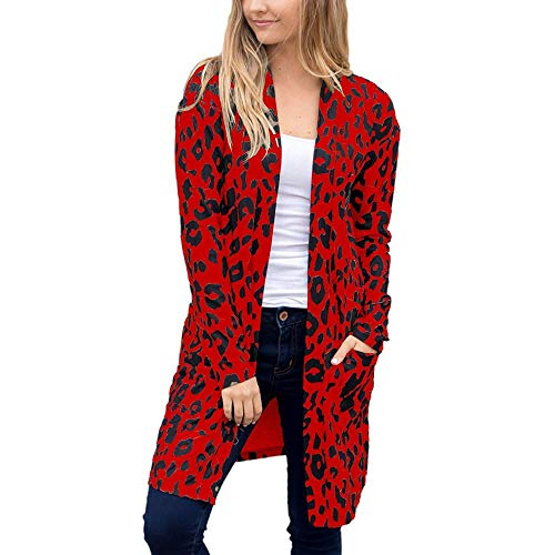 iHENGH Neujahrs Karnevalsaktion Damen Herbst Winter Bequem Mantel Lässig Mode Jacke Frauen Langarm Leopardenmuster Tasche Mode Mantel Bluse T-Shirt Strickjacke Top
