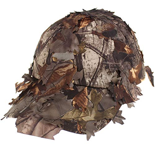 iSpchen Camouflage Hat Eimer Tactical Woodland Leaves Camo Sniper Boonie Cap Outdoor Jagdtraining Dschungel Ahorn Atmungsaktiv Sonnenblende Baseballkappen Kaffee#