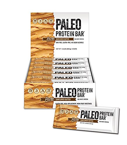 Paleo Protein Bar® (Organic SunButter) 12 Bars (150 Cal, 20g Egg White Protein 5 Net Carbs)