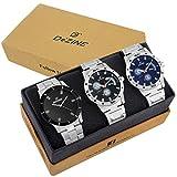 #5: Dezine 3 Pcs Combos Of Silver & Black Coloured Quartz Watch For Men DZ-CMB 49