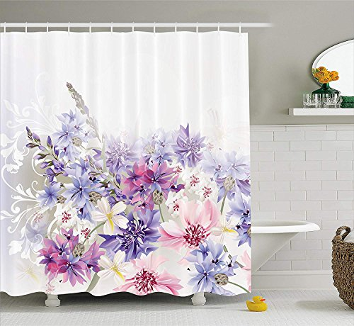 (JIMMY MONTGOMERY Lavender Shower Curtain Set, Pink Purple Cornflowers Bridal Classic Design Gentle Floral Art Wedding Decorations Print, Fabric Bathroom Decor with Hooks, 70 inches, Violet Pink White)