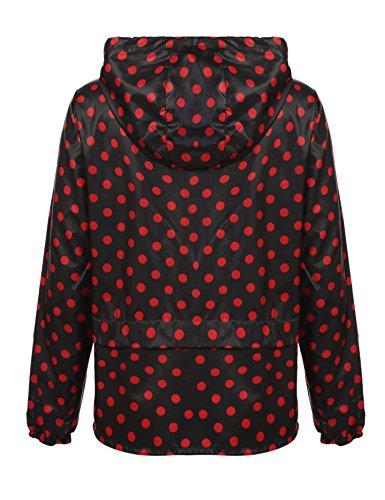 Meaneor Damen Jacke Übergangsjacke Regenjacke mit Kapuze Tasche Regenparka Funktionsjacke Wasserdicht Atmungsaktiv Schwarz+Rot Punkten