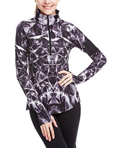 icyzone Damen Sport T-Shirt Langarm Laufshirt - 1/2 Reißverschluss Fitness Sweatshirt Laufjacke Running Tops (XL, Lightning)