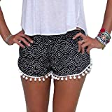 Kolylong Women Polka Dot High Waist Tassel Shorts Summer Casual Short Pants (S, Black)