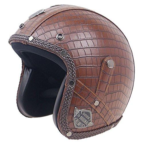 KKmoon Casco de la motocicleta, cascos de cuero retro PU, a prueba de viento y sandproof otorcycle Bicicleta Casco de la cara llena M Enrejado Marrón