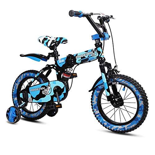 Axdwfd Kinderfahrräder Kinderfahrrad, 14/16/18-Zoll Faltbarer Kinderwagen für 3-9 Jahre Alten Jungen Student Mountainbike Fahrrad (Color : Blue, Size : 18in)