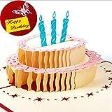 Vic Gruppe Happy Birthday Grußkarte handgefertigt 3D Pop up Hohl Cake Grußkarte Geburtstag Geschenk Kleine Karte 15,5* 13cm, Papier, rot, 15.5*13CM