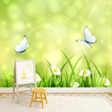azutura Schmetterling Fototapete Gänseblümchen Tapete Mädchen Kinderzimmer Dekor Erhältlich in 8 Größen X-Groß Digital