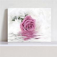 Rosa flores Cuadro en Lienzo 40x60x2.5 cm - 1 partes - Impresion en calidad fotografica - Cuadro en lienzo tejido-no tejido