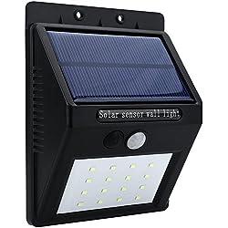 Mabor Foco Exterior led, Luz Solar LED de Jardín 16 LEDs Luz de Pared con Sensor de Movimiento Impermeable para Jardín, Patio, Escalera, Pared, etc.
