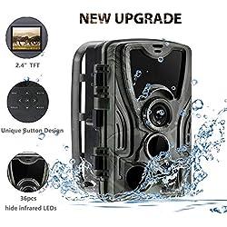 SUNTEKCAM 2019 Cámara de Caza 16MP 1080P Full HD Infrarrojo 940nm Dark Leds 64GB Cámara de visión Nocturna Vigilancia de Vida Silvestre Detector de Movimiento 120 ° IP65 a Prueba de Agua