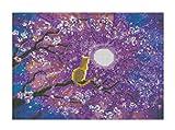 wuayi 5D DIY Diamant-Gemälde Komplett-Sets, süße Katze Blume Mond Landschafts-Stickerei Strass eingeklebt Kreuzstich für Zuhause Wanddekoration Kunst, A: 30 * 40cm, 30 * 40cm