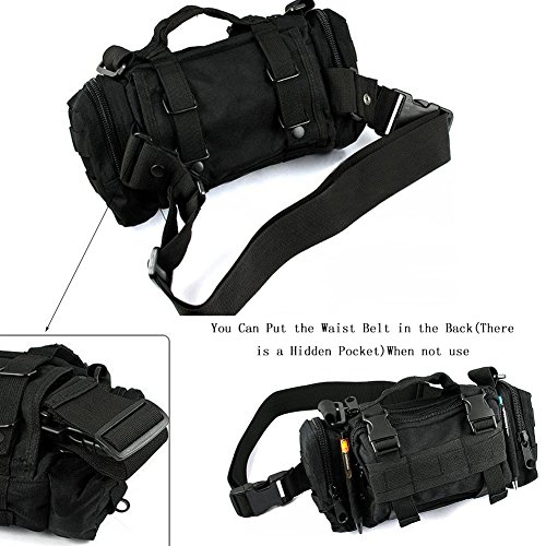 Distribuzione Borsa marsupio 3P tattico militare Utility Pouch per Outdoor Trekking Crossbody Borsa a tracolla zaino, Black Black