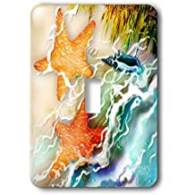 3dRose LSP_243245_1 Two Starfish and Seashell Near Ocean Along The Seashore Digital Art Single Toggle Switch