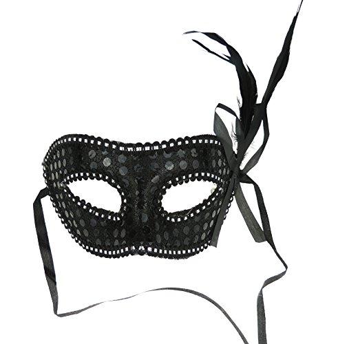 (Venezianische Maske Masquerade Feder für Partys und Bälle schwarz)