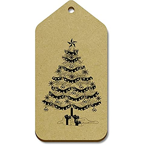 10 x Large 'Christmas Tree' Wooden Gift / Luggage Tags