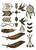 Miya® 1Stück Wild Style Metallic Tattoo, Flash Tattoos, temporär tattoo, Gold Schwarz Silber farbig Schmuck Tattoo für Körper Finger Arme, Halskette Armband Flash Tattoos Body Tattoo, Form01 -