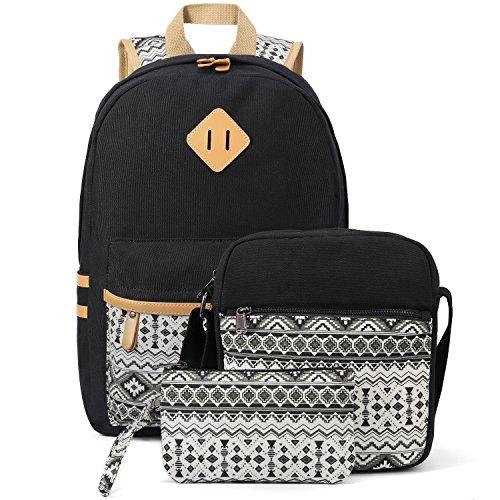 Plambag Leichte Segeltuch Rucksack Set 3 Pcs für Mädchen Jungendliche Damen, Schulrucksack + Schultertasche / Messenger Bag + Mäppchen / Purse (Schwarz) (Purse Messenger Handtasche Bag)