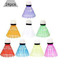 Zuzer 24PCS Volantes de bádminton Volantes de Plástico Deportivo para el Entrenamiento Volantes de Plumas de Deporte Volantes de bádminton con Gran Estabilidad y Durabilidad(Color al Azar)