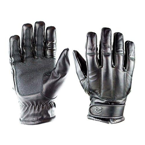 OBRAMO Quarzsand Lederhandschuhe Einsatzhandschuhe Tactical Security, Schwarz, 3XL