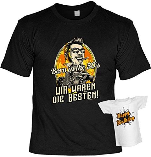T-Shirt zum Geburtstag - Born in the 50s - Wir waren die Besten! - Im SET mit gratis Mini Shirt - Geschenk - schwarz Schwarz