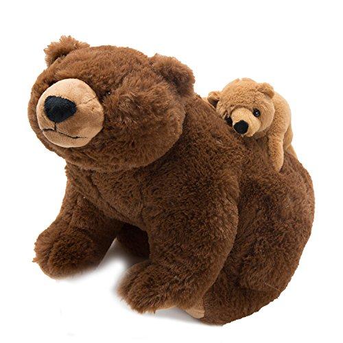 Teddybär mit Baby am Rücken - Plüschtier Plüschfigur Plüschi Kuscheltier Kuschelbär Geburtstagsgeschenk für Kinder und Erwachsene - Handmade Kuscheln