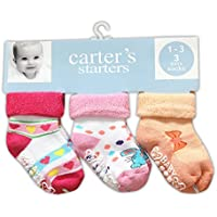 Baby Station 3/Pairs- Multi Color kids Baby Cotton Anti Skid Socks 12-18Months (Pink)