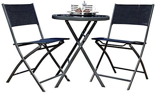greemotion Balkonset Kos in Schwarz 3-teilig, robuster Balkontisch aus hochwertigem Stahl, Stühle...