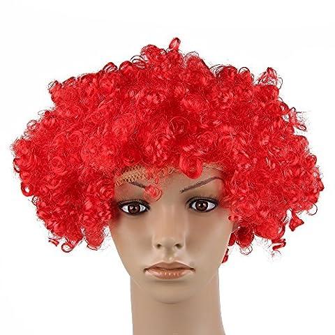 Beauty7 Perruque Afro POP Rajouts de Cheveux Bouclé Ondulé Déguisement Cosplay Halloween Disco Funky Années 70 Rouge
