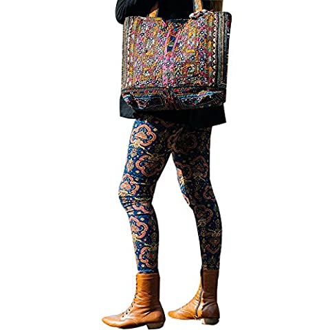 OverDose Women Casual Geometric Print Stretchy Pants Leggings (Small, #5)