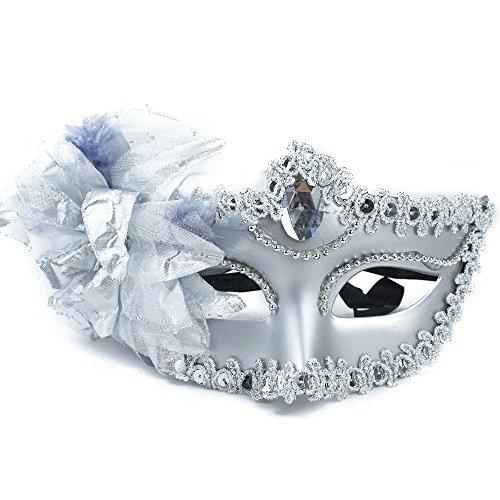 REFURBISHHOUSE Mode Exquisite Diamant Prinzessin Venedig Maske mit Blumen, Silber