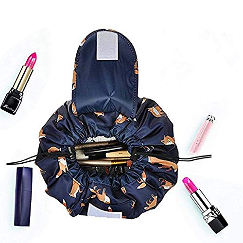 Drawstring Makeup Bag,ONEGenug Cosmetic Bag,One-Step Toiletry Organizer, Cosmetic Pouch for Lazy Ladies Darkblue