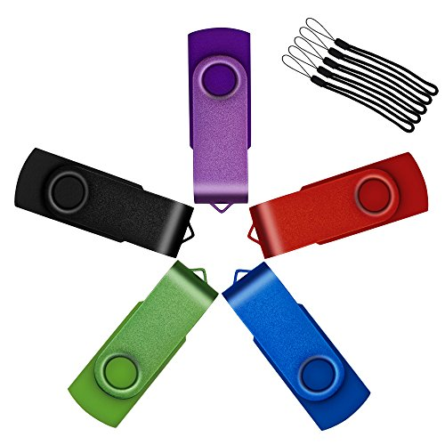 Uflatek Lot de 5 Clé USB 512Mo Pivotant USB 2.0 Flash Drive Portatif...