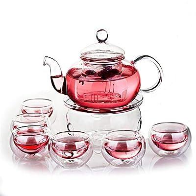 Théière en verre pour théière avec un réchaud et 6 tasses à thé, le corps transparent ne dégage aucune odeur et apportera une vue élégante à la vue lorsque vous profiterez du thé,Aroundcandlestick