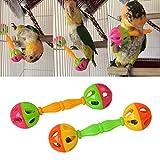 wenjuersty Vogelspielzeug für Papageien, Rassel, Kunststoff, Doppelkopf-Glocke, 2 Stück