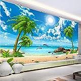 Carta da parati personalizzata 3D Bellissima spiaggia di palme Paesaggio di mare Foto Carta da parati Salotto Tv Divano Camera da letto Fondale 3D murales, 400Cmx280Cm
