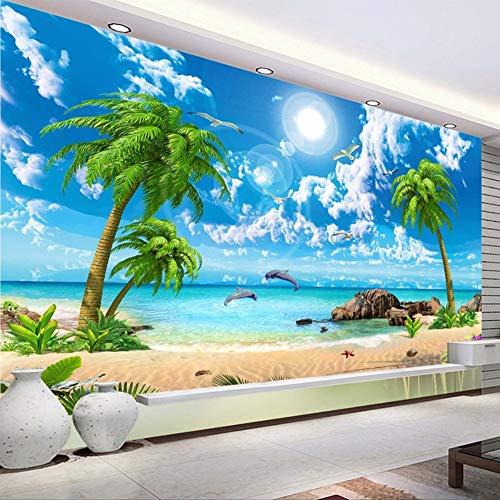 Carta da parati personalizzata 3D Bellissima spiaggia di mare Palm Beach Foto Carta da parati Salotto Tv Divano Camera da letto Sfondo muro 3D murales, 430Cmx300Cm